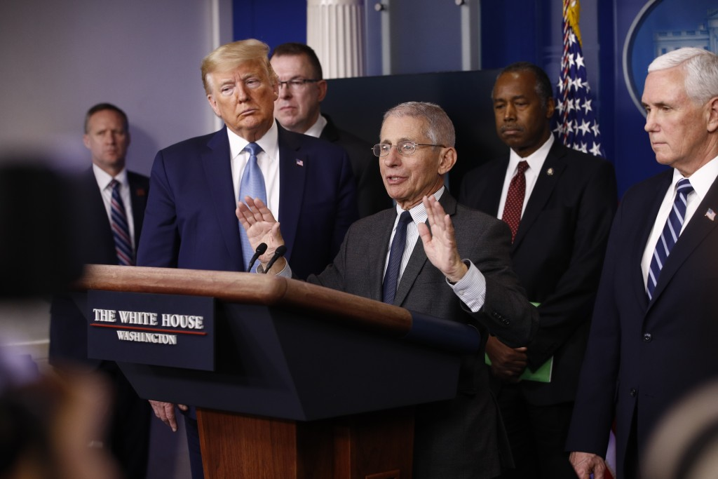 Director of the National Institute of Allergy and Infectious Diseases Dr. Anthony Fauci speaks during a coronavirus task force briefing at the White H...