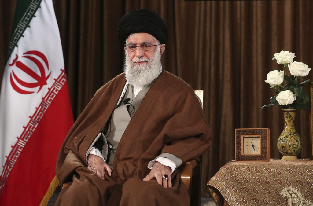 In this picture released by the official website of the office of the Iranian supreme leader, Supreme Leader Ayatollah Ali Khamenei sits prior to addr...