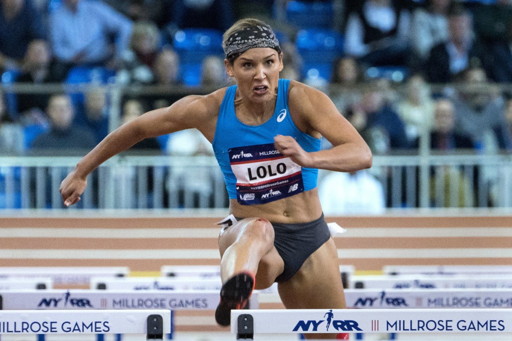 FILE - In this Feb. 3, 2018, file photo, Lolo Jones, of the United States, competes in the Howard Schmertz women's 60-meter hurdles at the Millrose Ga...