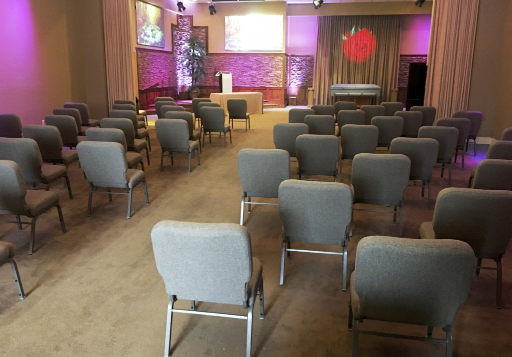 This March 19, 2020 photo provided by Bob Arrington of Arrington Funeral Directors shows a viewing room with seating arranged to facilitate social dis...