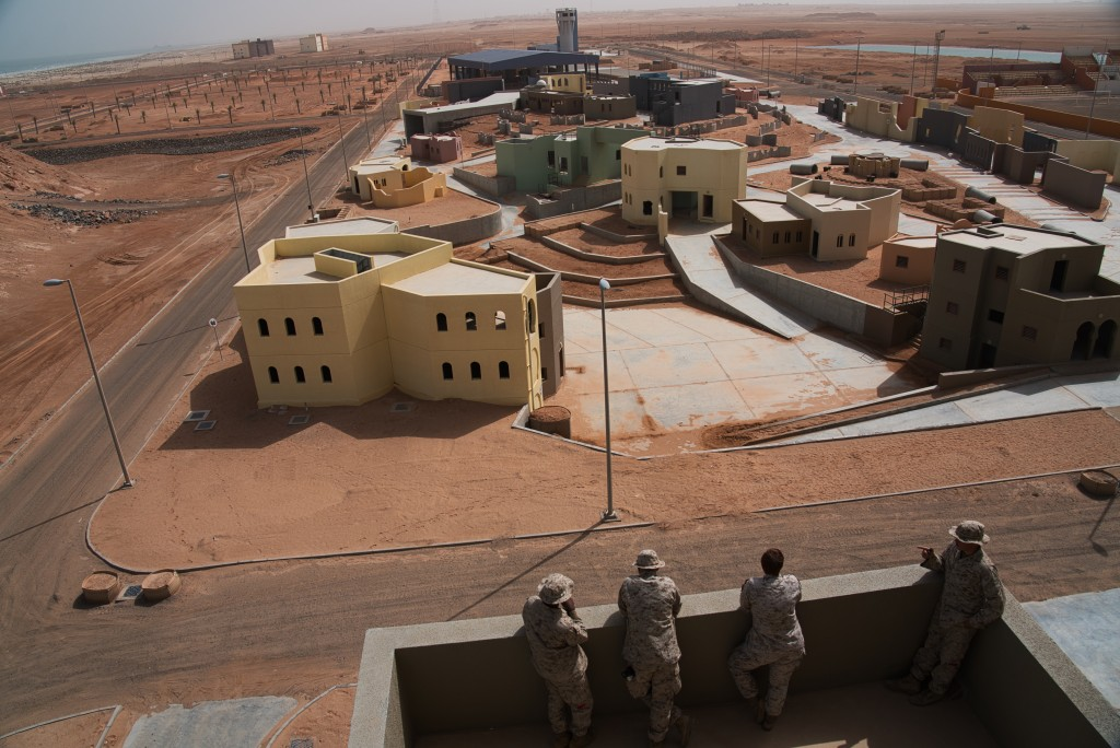 U.S. Marines overlook a Military Operations in Urban Terrain facility during an exercise at an Emirati military base in al-Hamra, United Arab Emirates...