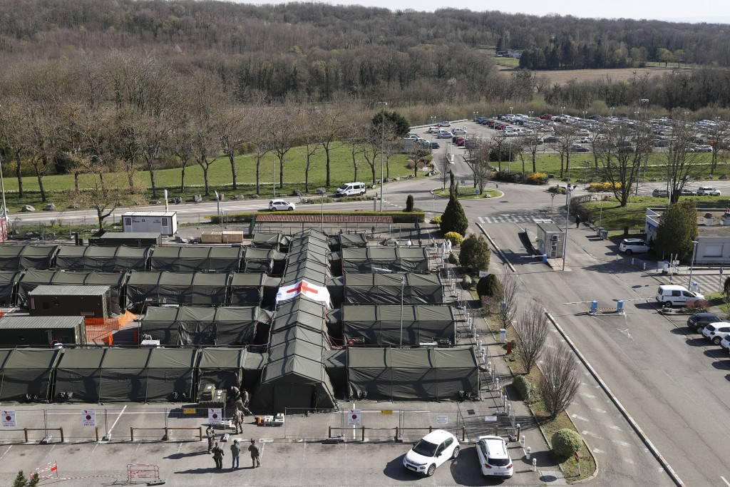 The military field hospital built in Mulhouse, eastern France, is pictured Monday March 23, 2020. The Grand Est region is now the epicenter of the out...