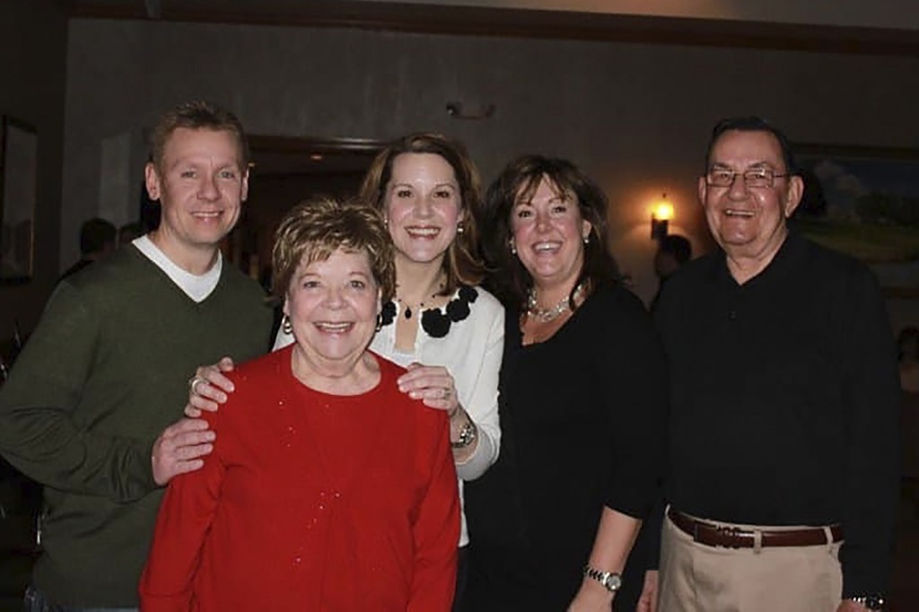 In this 2011 family photo provided by Dawn Bouska, from left, Brad Recka, Patricia Recka, Dawn Bouska, and Amy Malley, pose with Charles Recka, right,...