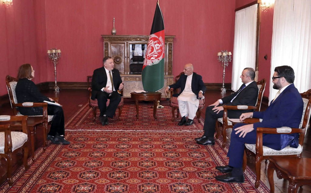 U.S. Secretary of State Mike Pompeo, center left, meets with Afghan President Ashraf Ghani, center right, at the Presidential Palace in Kabul, Afghani...