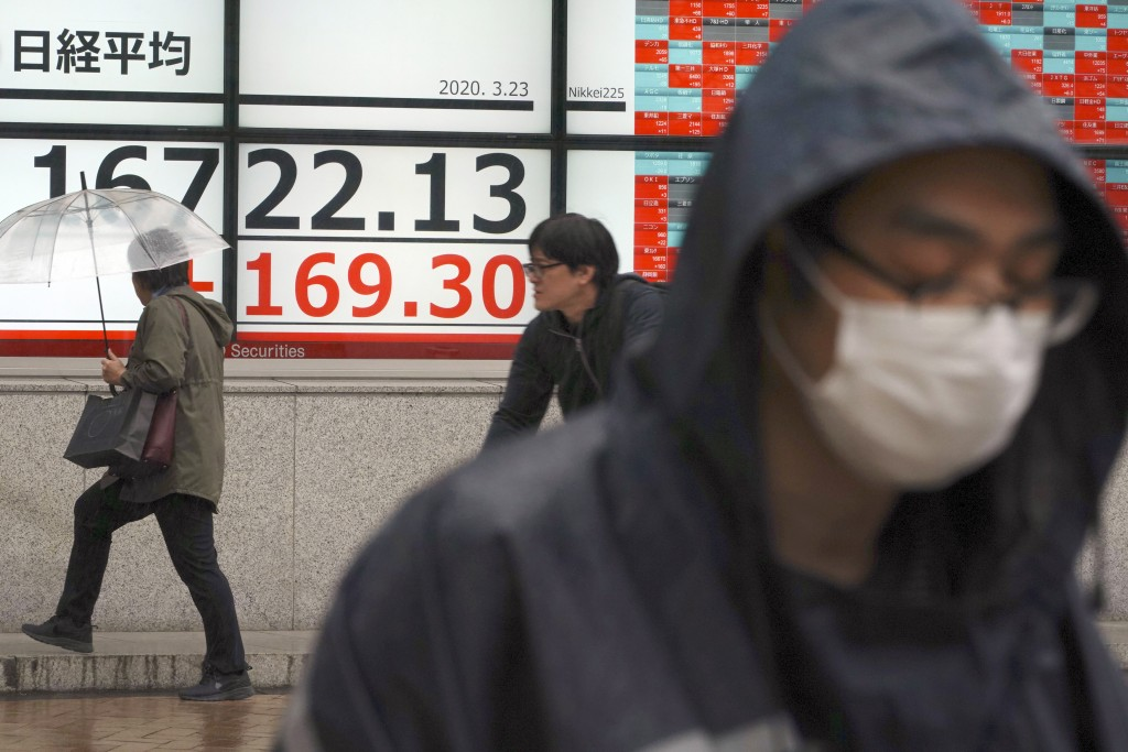 People walk in the rain past an electronic stock board showing Japan's Nikkei 225 index at a securities firm in Tokyo Monday, March 23, 2020. Shares d...