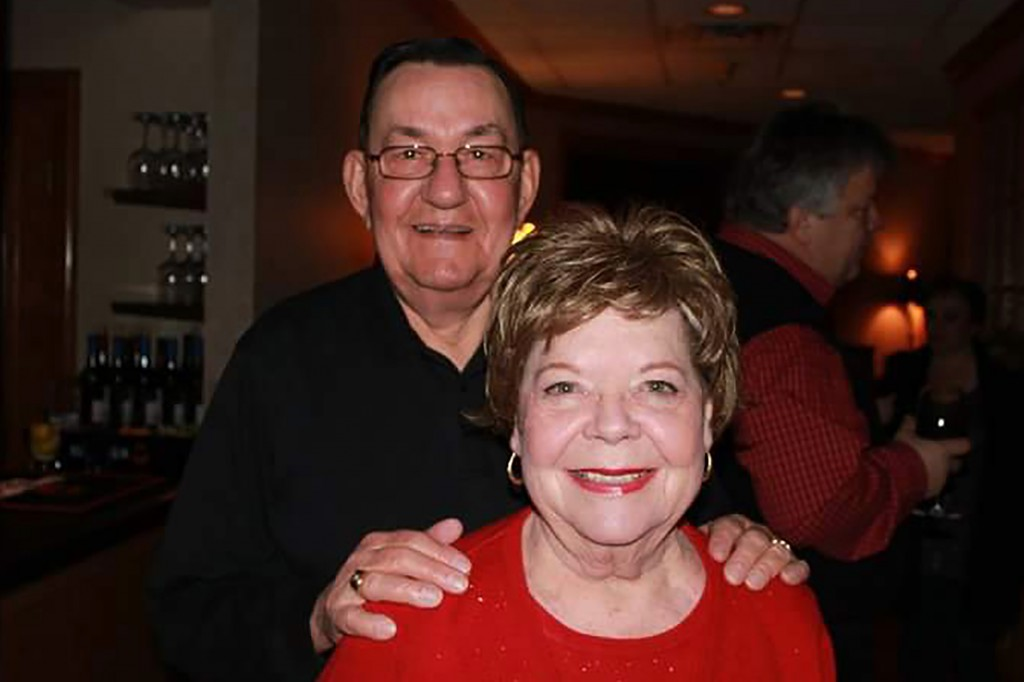 In this 2011 family photo provided by Dawn Bouska, Charles Recka and his wife, Patricia Recka, pose for a photo at a banquet in Naperville, Ill. Charl...