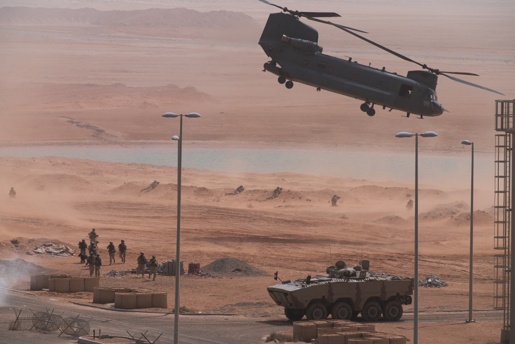 An Emirati Boeing CH-47 Chinook takes off during an exercise at an Emirati military base home to a Military Operations in Urban Terrain facility in al...