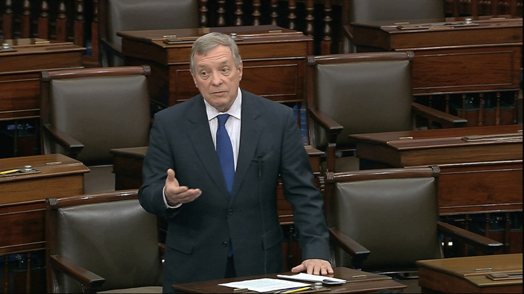 In this image from video, Sen. Dick Durbin, D-Ill., speaks on the Senate floor at the U.S. Capitol in Washington, Sunday, March 22, 2020. (Senate Tele...