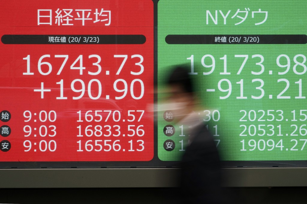A man walks past an electronic stock board showing Japan's Nikkei 225 and New York Dow index at a securities firm in Tokyo Monday, March 23, 2020. Sha...