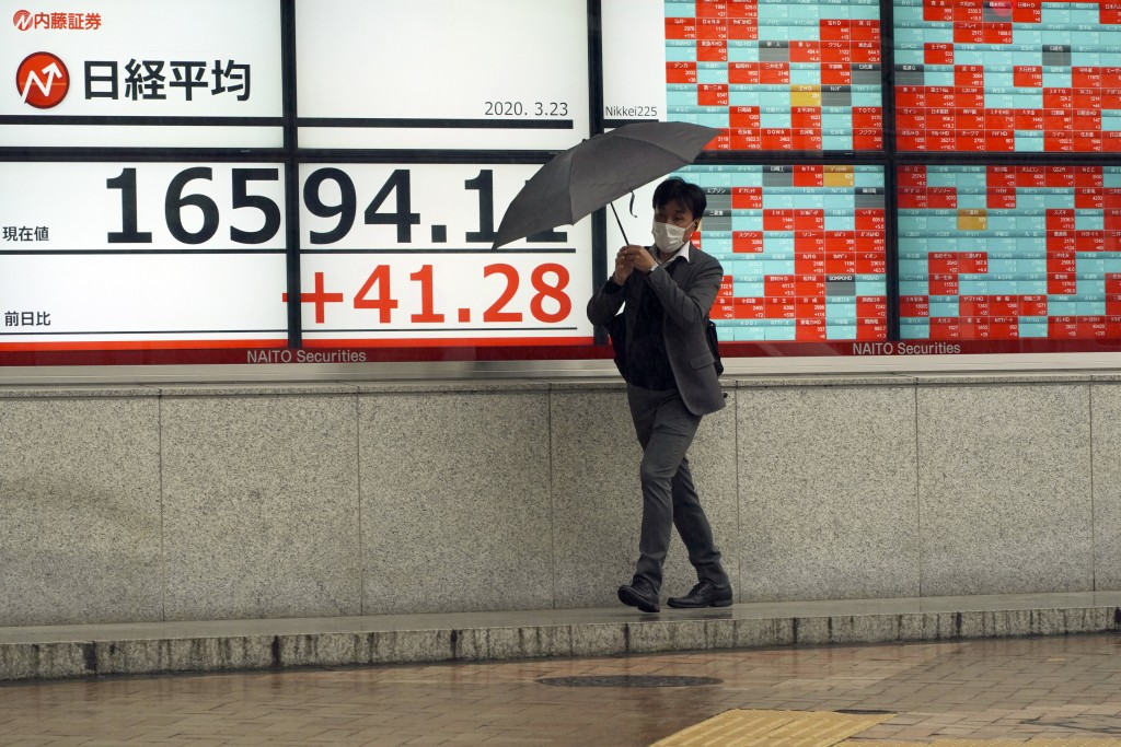 A man walks in the rain past an electronic stock board showing Japan's Nikkei 225 index at a securities firm in Tokyo Monday, March 23, 2020. Shares d...