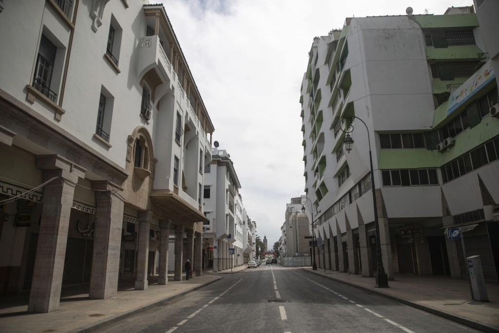 An empty street in downtown Rabat is seen following the announcement of a health state of emergency and members of the public ordered to a home confin...