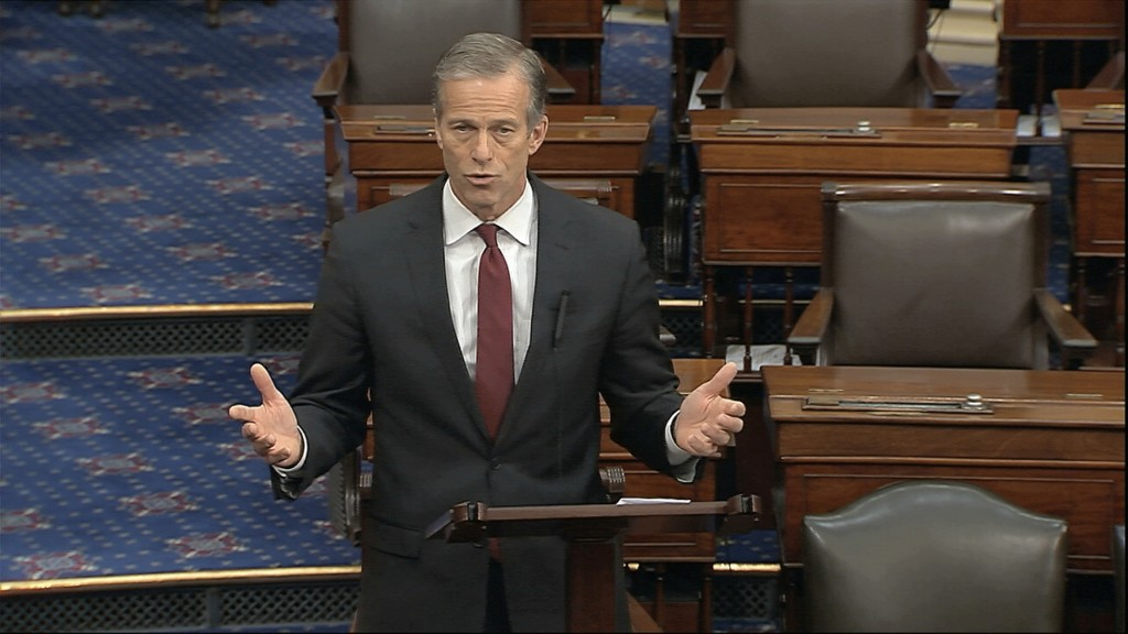 In this image from video, Sen. John Thune, R-S.D., speaks on the Senate floor at the U.S. Capitol in Washington, Sunday, March 22, 2020. (Senate Telev...