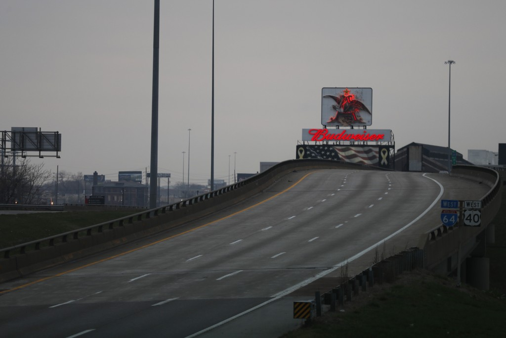 Interstate 64 is void of traffic near what would be the end of rush hour Monday, March 23, 2020, in St. Louis. A mandatory stay-at-home order has been...