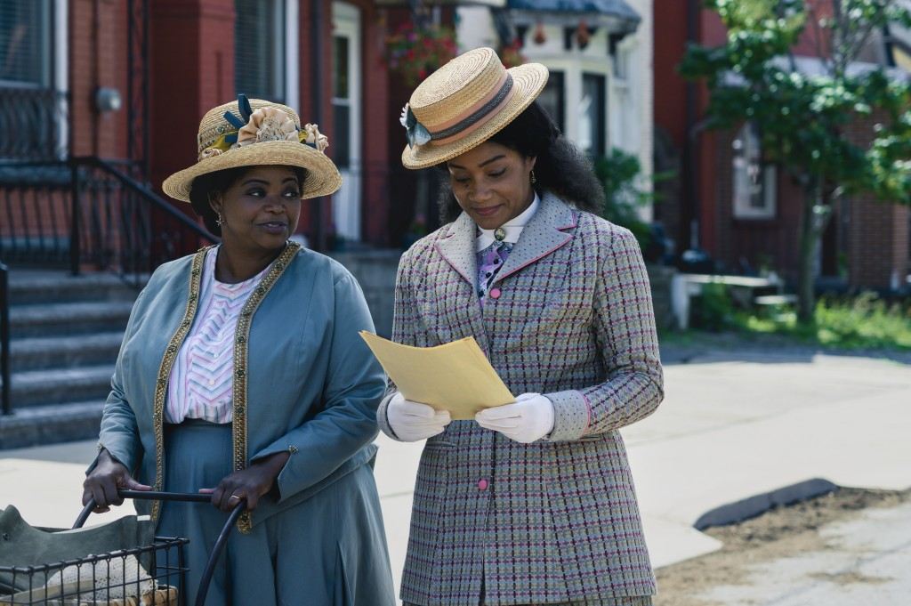 """This image released by Netflix shows Octavia Spencer, left, and Tiffany Haddish in a scene from """"Self Made: Inspired by the Life of Madam C.J. Walker...."""