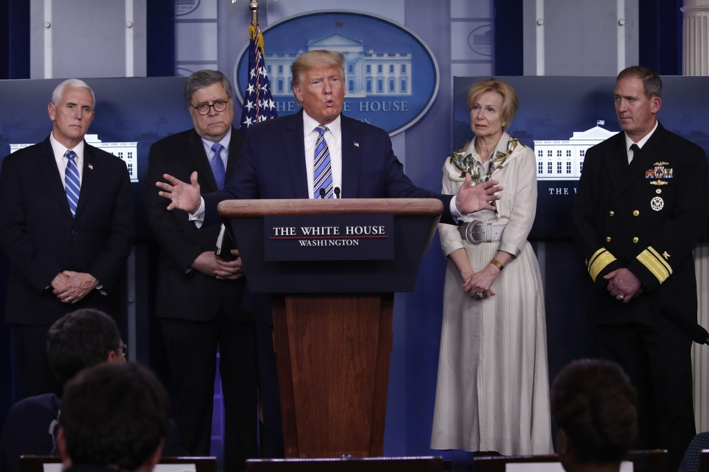 President Donald Trump takes questions from reporters as he speaks about the coronavirus in the James Brady Briefing Room, Monday, March 23, 2020, in ...