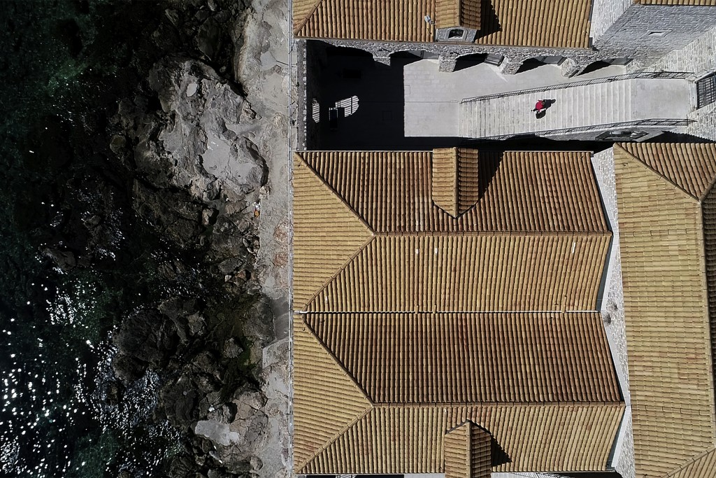 This Tuesday, March 17, 2020 aerial photo shows roofs and the atrium of the Lazarettos, called Lazareti in Croatian,  of Dubrovnik, in Dubrovnik, Croa...