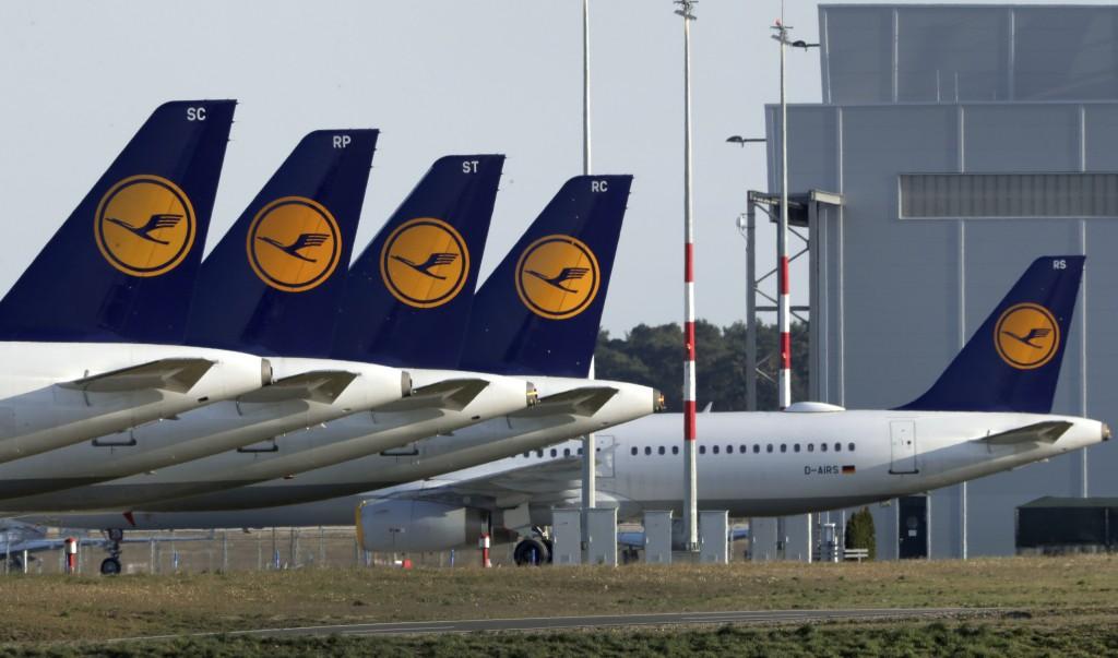 Airplanes of the German airline Lufthansa are parked at the Willy Brandt Airport, Berlin Brandenburg International, in Schoenefeld near Berlin, German...