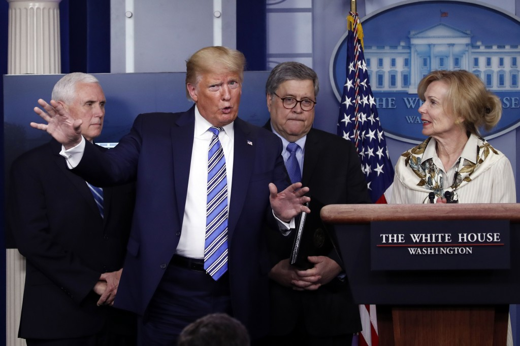 President Donald Trump gestures as he asks a question to Dr. Deborah Birx, White House coronavirus response coordinator, during a briefing about the c...