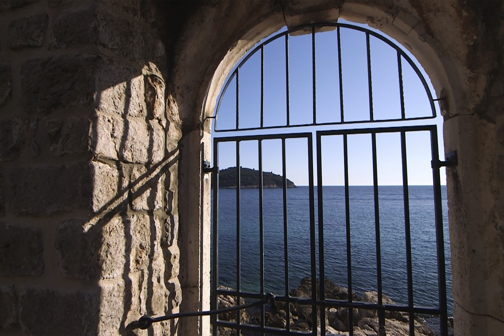 This Tuesday, March 17, 2020 photo shows the door of the Lazarettos complex, called Lazareti in Croatian, in Dubrovnik, Croatia. Just outside the maje...