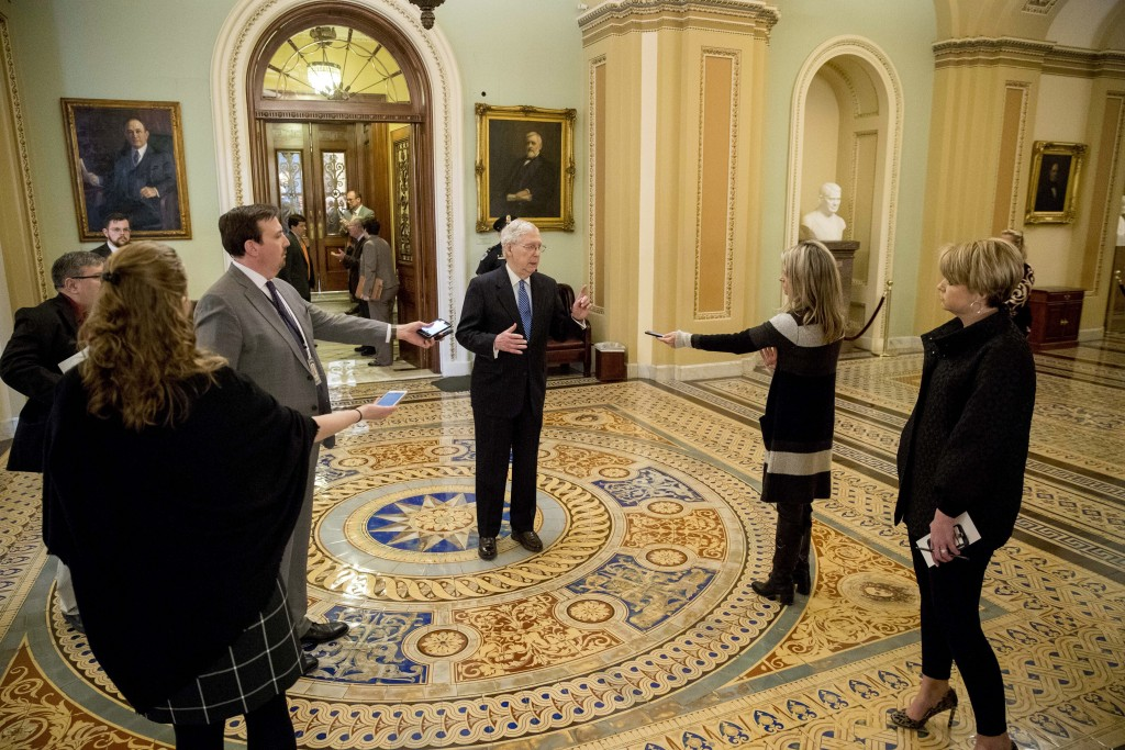 Senate Majority Leader Mitch McConnell of Ky. speaks to reporters outside the Senate chamber after Democrats blocked a coronavirus aid package on Capi...