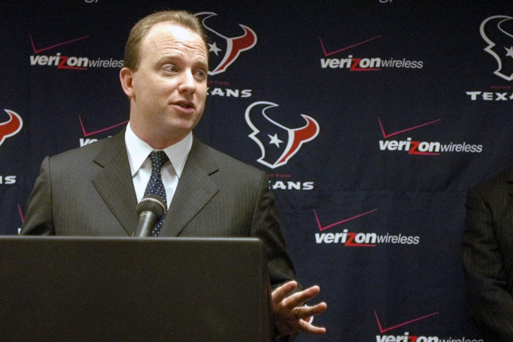 FILE - In this Nov. 24, 2003, file photo, Will Wilson, then-marketing director for NFL Mexico, speaks at a press conference in Houston. Wilson, the he...