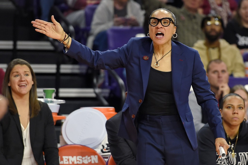 FILE - In this Nov. 24, 2019, file photo, South Carolina head coach Dawn Staley gestures during the second half of an NCAA college basketball game aga...