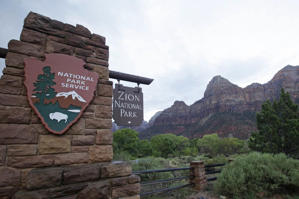 FILE - This Sept. 15, 2015, file photo, shows Zion National Park near Springdale, Utah. Zion National Park announced Monday, Marc h 23, 2020, it is cl...