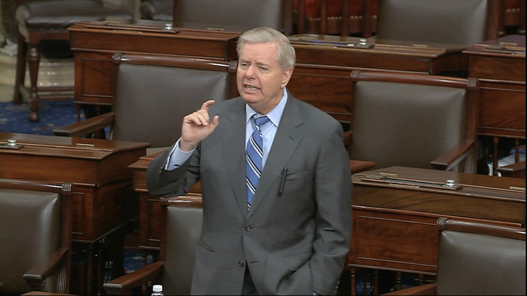 In this image from video, Sen. Lindsey Graham, R-S.C., speaks on the Senate floor at the U.S. Capitol in Washington, Tuesday, March 24, 2020. (Senate ...