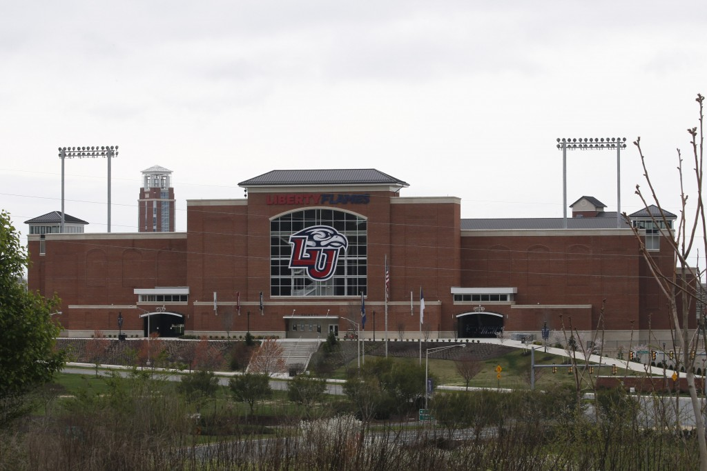 Liberty University's football stadium is empty as students were welcomed back to the university's campus, Tuesday March 24 , 2020, in Lynchburg, Va. O...