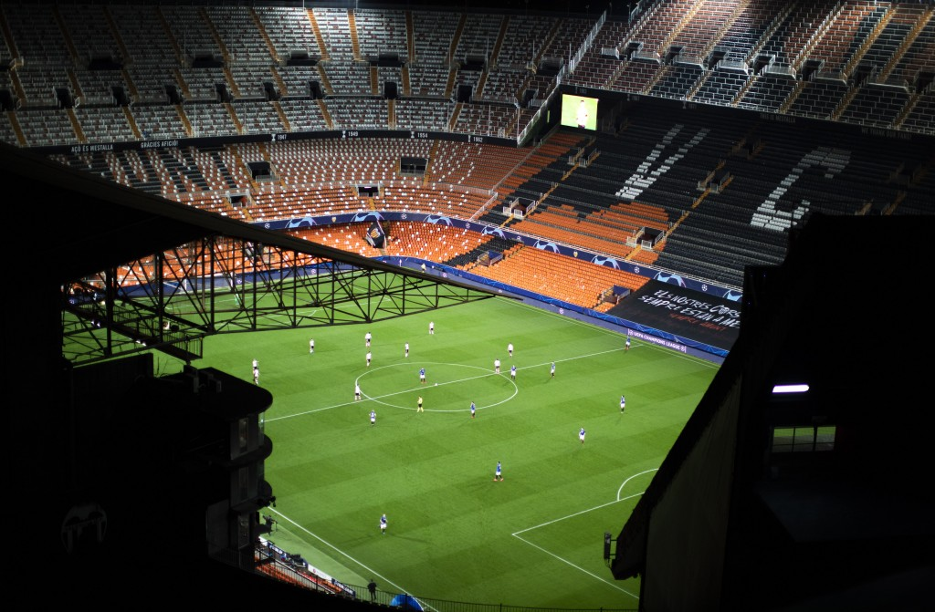 FILE - In this Tuesday March 10, 2020 file photo a general view of the Mestalla stadium during the Champions League round of 16 second leg soccer matc...