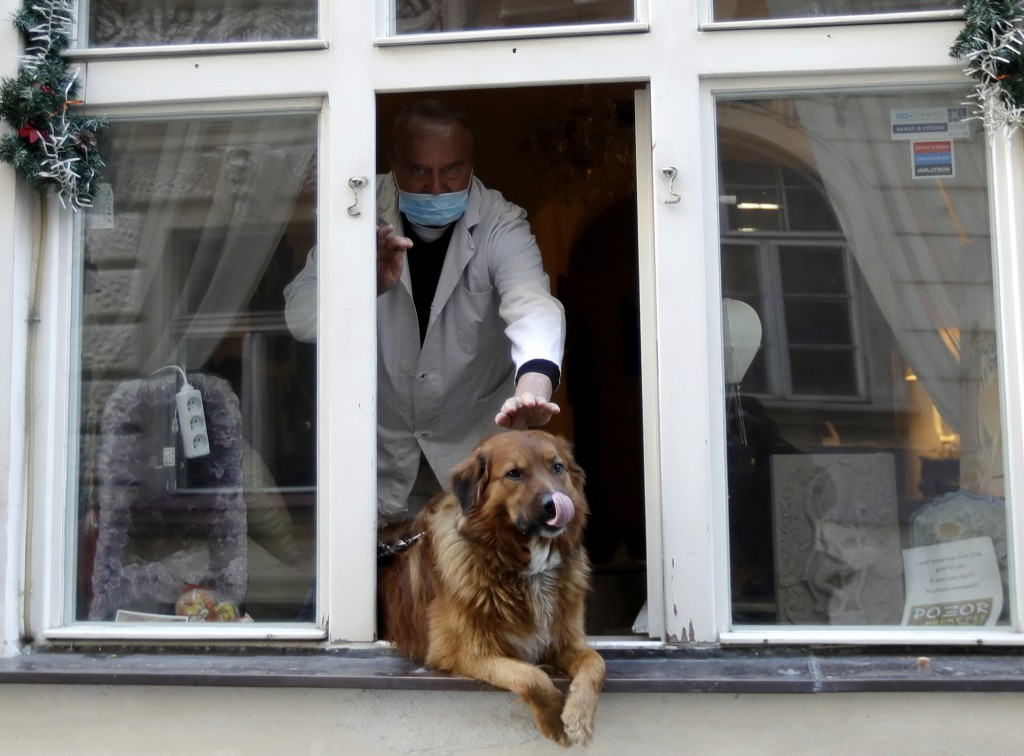 A man pets a dog that sits in a window downtown Prague, Czech Republic, Tuesday, March 24, 2020. The Czech government extended Monday its strict restr...