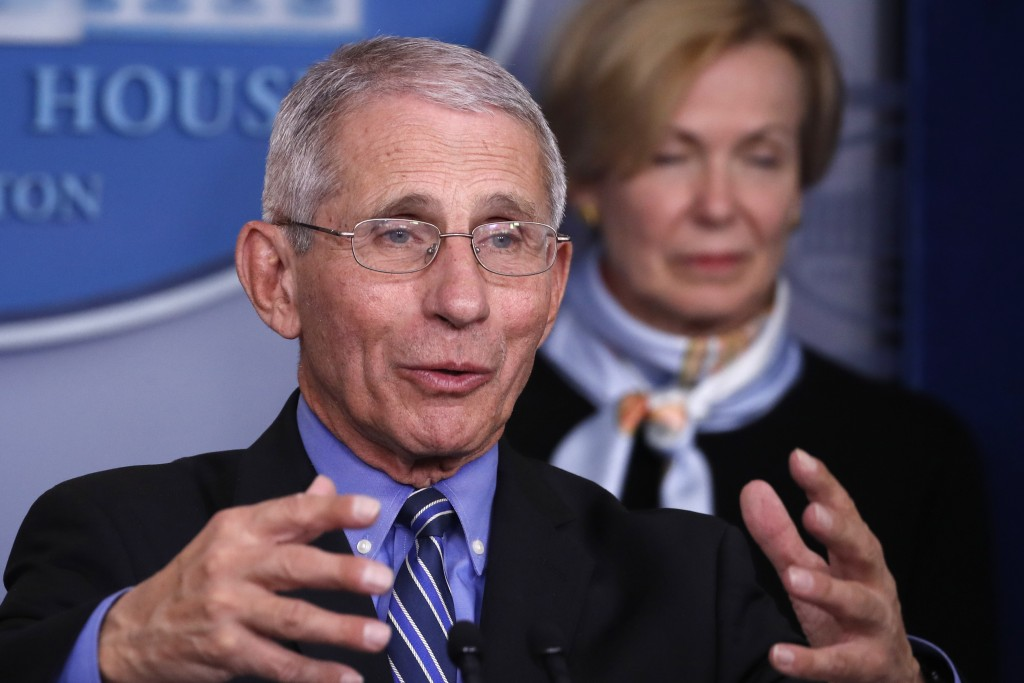 Dr. Anthony Fauci, director of the National Institute of Allergy and Infectious Diseases, speaks about the coronavirus in the James Brady Briefing Roo...