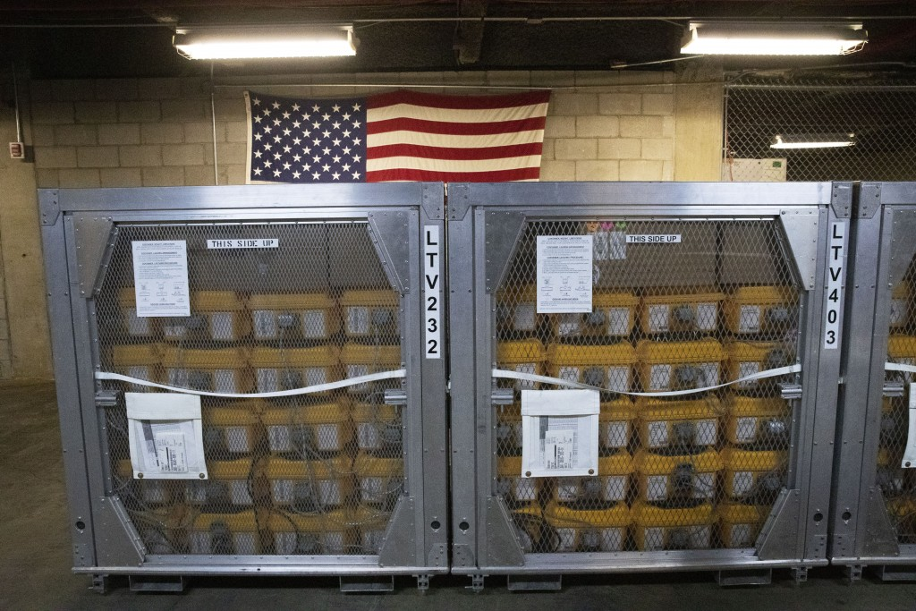 Cages of ventilators, part of a shipment of 400, arrived Tuesday, March 24, 2020 at the New York City Emergency Management Warehouse where they will b...
