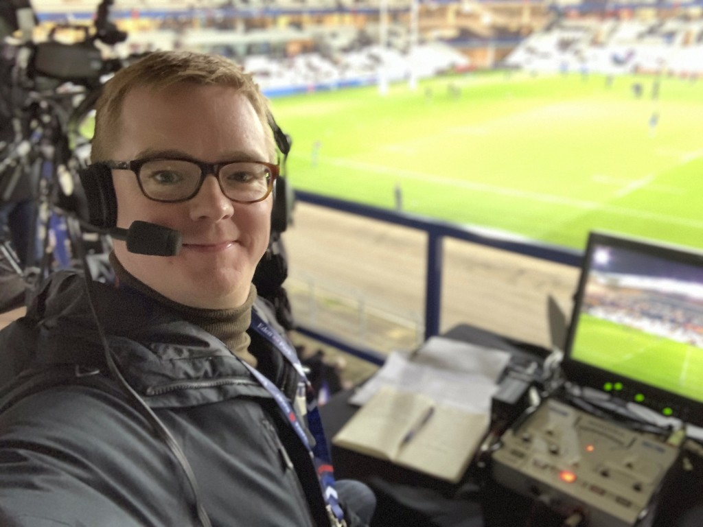 English rugby sports commentator Nick Heath poses for a selfie photo during the Women's Six Nations Rugby game France against England at Pau in France...