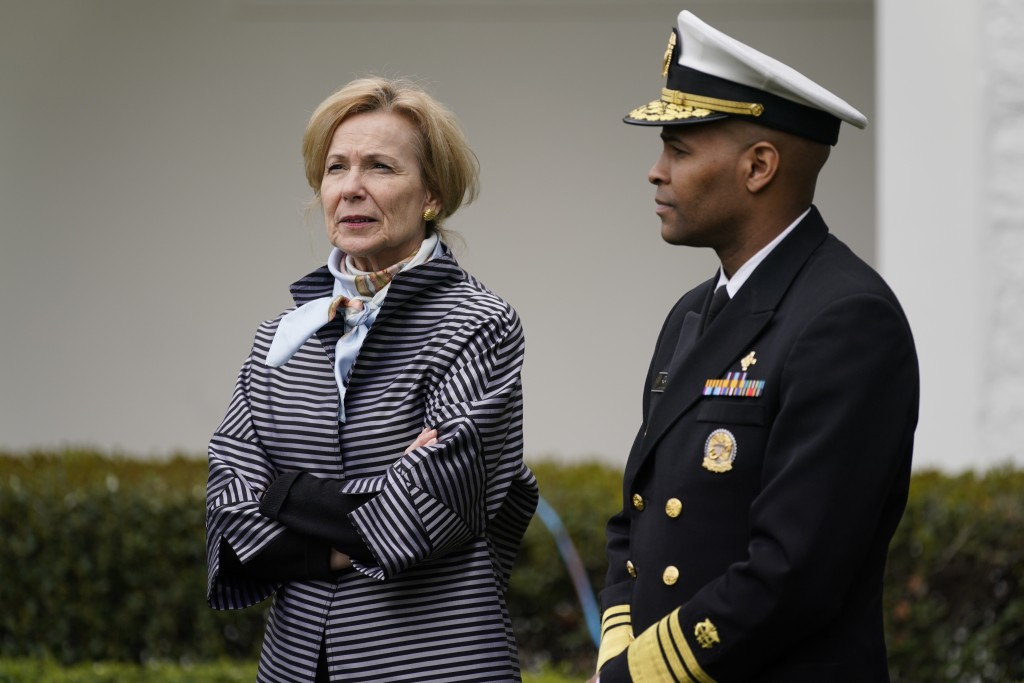 Dr. Deborah Birx, White House coronavirus response coordinator and Surgeon General Jerome Adams arrive for a Fox News Channel virtual town hall at the...
