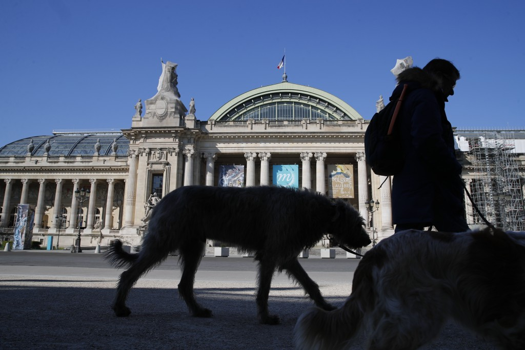 A man walks his dogs in front of the closed Grand Palais as authorities control public movements in Paris, Wednesday, March 25, 2020. The new coronavi...