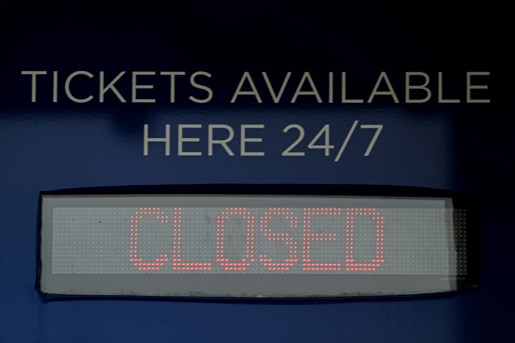 Ticket windows are closed at Kauffman Stadium, home of the Kansas City Royals baseball team, Wednesday, March 25, 2020, in Kansas City, Mo. The start ...