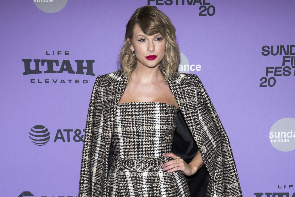 """FILE - This Jan. 23, 2020 file photo shows Taylor Swift at the premiere of """"Taylor Swift: Miss Americana"""" in Park City, Utah. Swift is helping fill th..."""