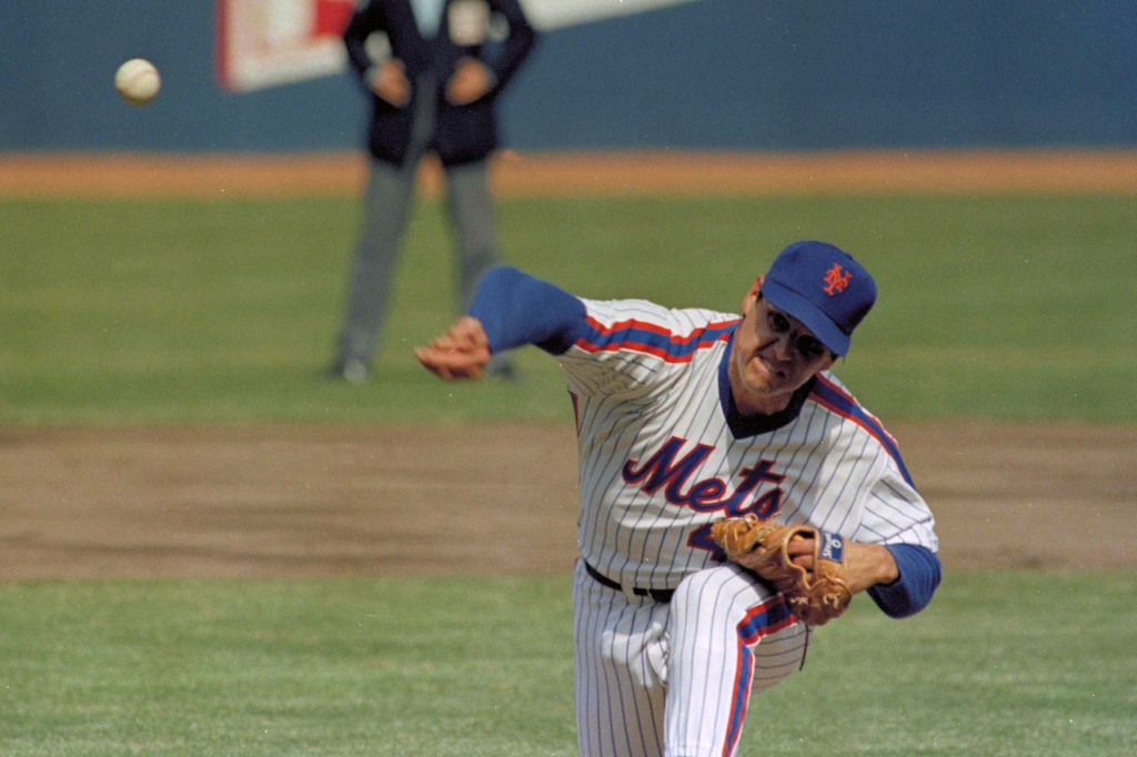 FILE - In this April 5, 1983, file photo, New York Mets pitcher Tom Seaver throws against the Philadelphia Phillies during an Opening Day baseball gam...