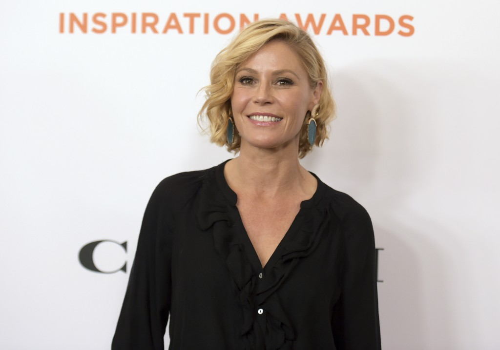FILE - This June 1, 2018 file photo shows Julie Bowen at the Inspiration Awards benefiting Step Up in Beverly Hills, Calif. In a world turned upside d...