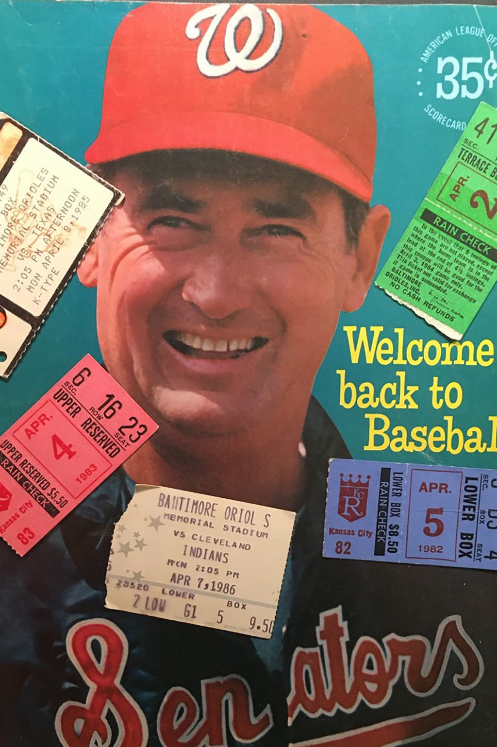 The Washington Senators 1969 opening day program featuring Ted Williams, adorned with ticket stubs from opening days in the 1980's is shown in New Yor...