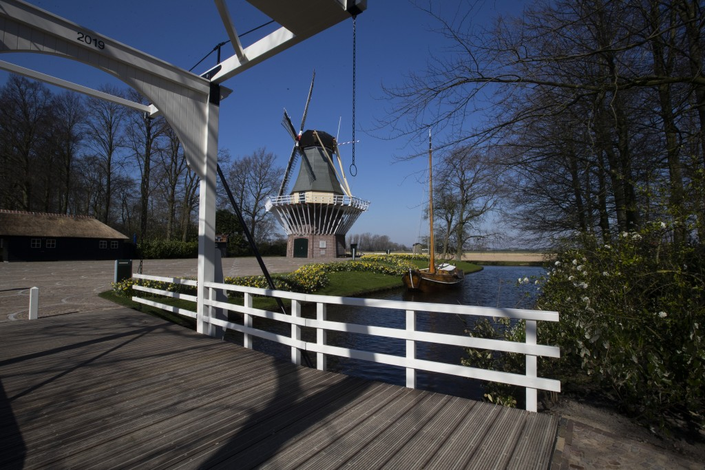View of the empty world-renowned, Dutch flower garden Keukenhof which was closed because of the coronavirus, in Lisse, Netherlands, Thursday, March 26...