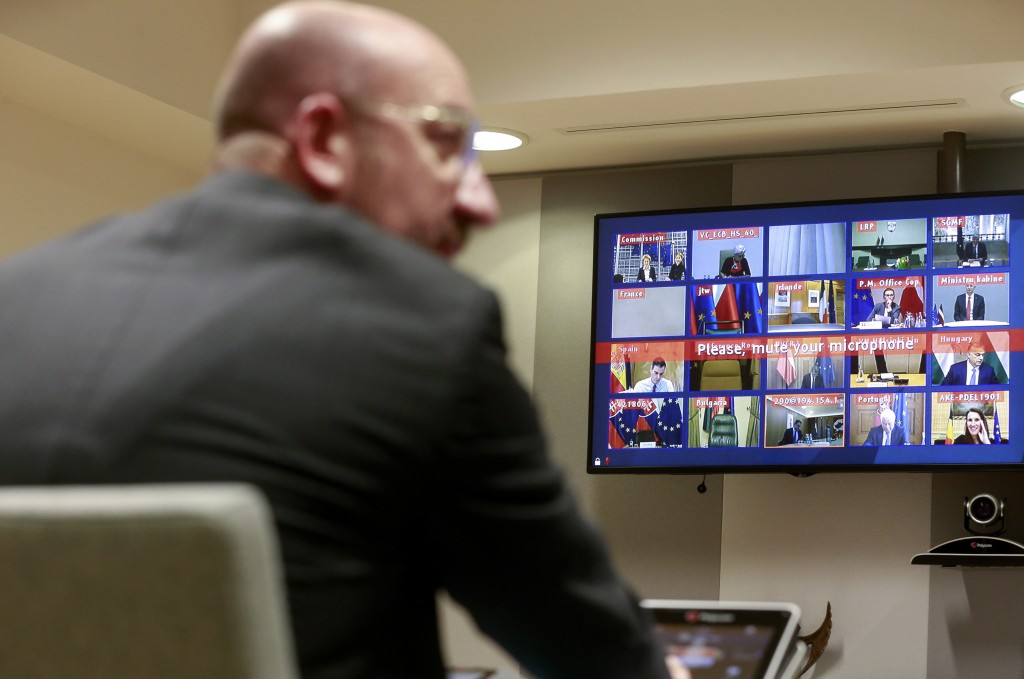FILE - In this Tuesday, March 10, 2020 file photo, European Council President Charles Michel participates in a video conference call with EU leaders a...