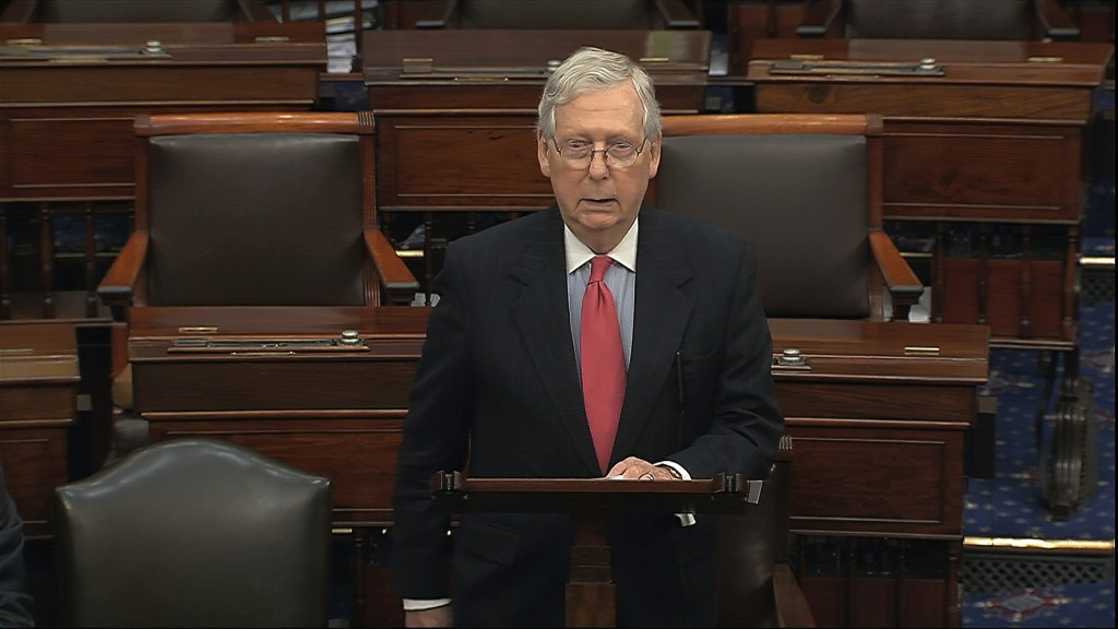 In this image from video, Senate Majority Leader Mitch McConnell, R-Ky., speaks on the Senate floor at the U.S. Capitol in Washington, Wednesday, Marc...