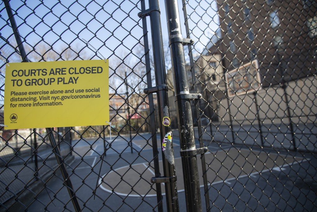 """The West Fourth Street Courts, also known as """"The Cage"""", are seen closed with the basketball hoops removed, Thursday, March 26, 2020, in New York.  Ac..."""
