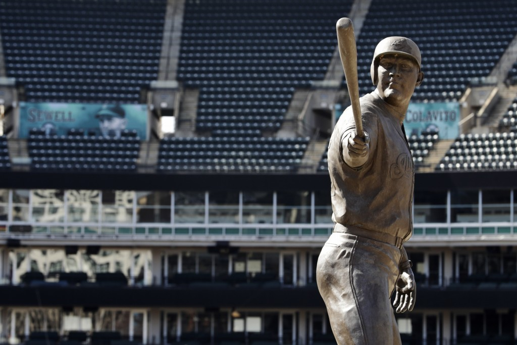 A statue of former Cleveland Indians Jim Thome stands in an empty Progressive Field, March 26, 2020, in Cleveland. The Cleveland Indians were schedule...