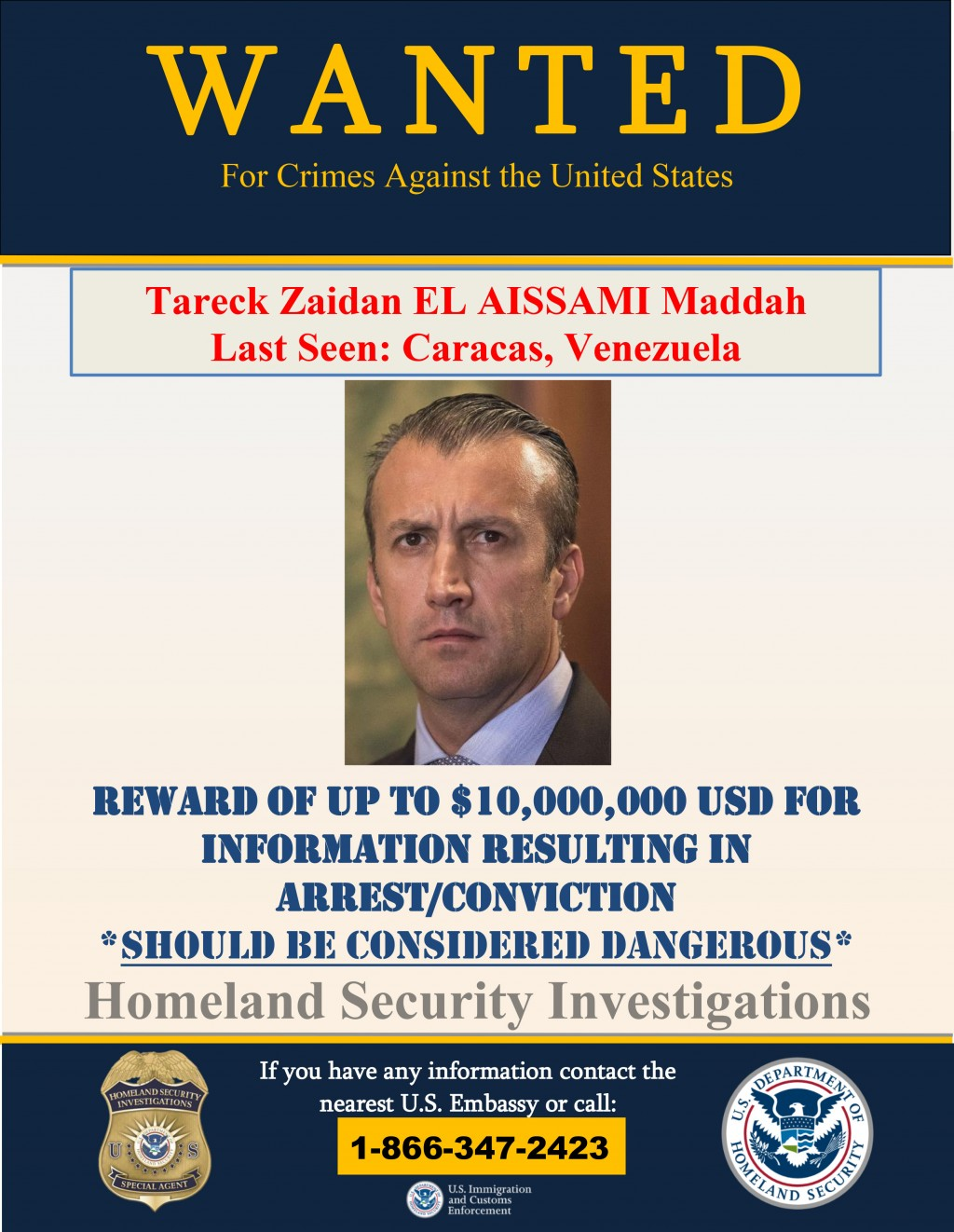 This image provided by the U.S. Department of Justice shows a wanted poster for Tareck Zaidan that was released on Thursday, March 26, 2020. The U.S. ...