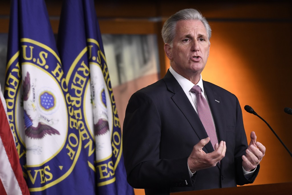 House Minority Leader Kevin McCarthy of Calif., speaks during a news conference on Capitol Hill in Washington, Thursday, March 26, 2020. (AP Photo/Sus...