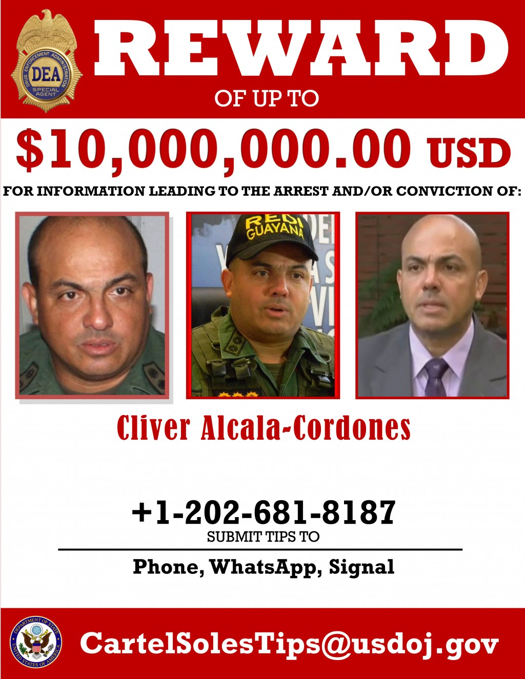 This image provided by the U.S. Department of Justice shows a reward poster for Cliver Alcala-Cordones that was released on Thursday, March 26, 2020. ...