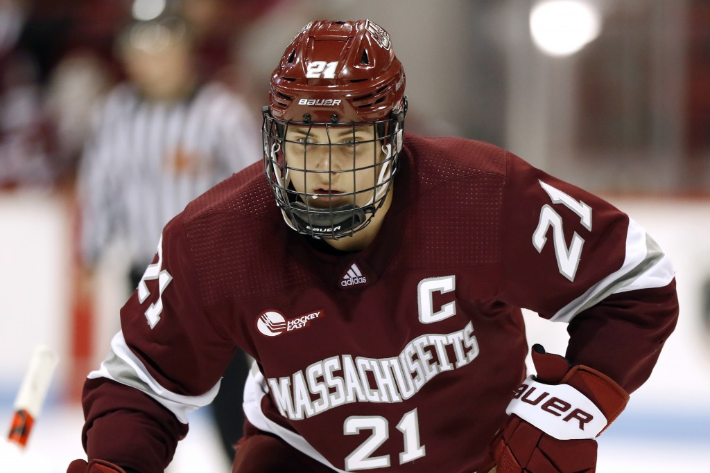 FILE - In this Nov. 1, 2019, file photo, Massachusetts' Mitchell Chaffee during an NCAA hockey game against Northeastern on Friday, in Boston. Chaffee...
